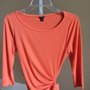 Orange Ann Taylor 3/4 Sleeve Shirt Fitted Aline